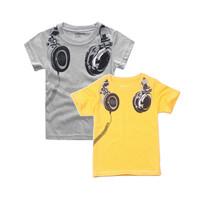 Hu Sunshine wholesale new 2014 Fashion summer boys short-sleeved t-shirt headset children clothen boys t-shirts