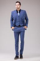 men suit business wedding jacket pant vest set Male plaid suit piece set british style men's set new arrival men's clothing