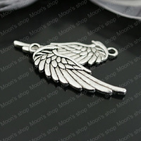 (26996)Fashion Jewelry Findings,Accessories,Vintage charm,pendant,Alloy Antique Silver 33*11MM Angel wings 30PCS
