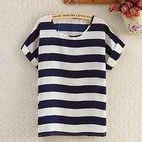 New 2014 Fashion Women Blouses Hot Selling Loose stripes Printed Chiffon Blouse Autumn-Summer Dot/Heart Sale Shirt
