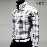 2014 fashion autumn mens dress shirts plaid shirt  more color   shirt M-XL (LC0020)