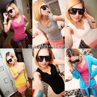 Women Tanks & Camis Solid Color V-neck Vest Adult Size Halter Straps Bottoming Wholesale