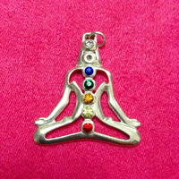 1pc  38*34mm Silver Plated Mix color Crystal Buddha Pendant, Chakras in Tibetan Buddhism Pendant  lucky charms under god's cover