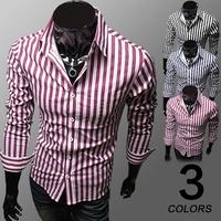 2014 fashion shirt  mens dress shirts stripe Black, blue, red wine   shirt M-XL (LC0021)