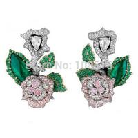 Derongems_Fine Jewelry_Luxury Emerald Stones 3D Flower Party Earrings_S925 Solid Silver Luxury Earrings_Factory Directly Sales