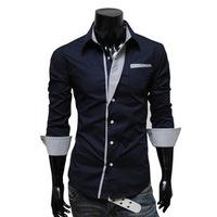 2014 autumn long-sleeved shirt for men turn_down Collar   shirt M-XL (LC0025)