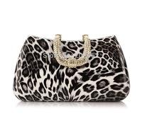 Hot saleleopard  Evening Bag Diamond Leopard Handbag Clutch Alloy Hasp  5 leopard bag colors,1 pc ok