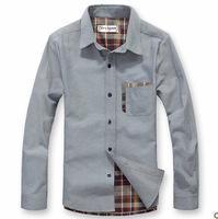 2014 Men Shirts Long Sleeve 100% Cotton Casual Shirts Slim Fit Autumn Shirt Spring Shirt