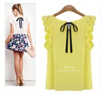 Lotus Sleeve Chiffon Shirt&Blouse Women Blouses Camisas Blusas Femininas 2014 Summer Woman's Tops Round Neck S-XL