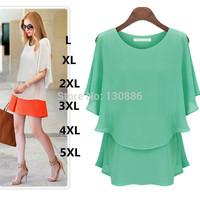 Womens tops fashion 2014 european style chiffon shirt Loose Plus size Clothing women blouse o-neck Short sleeve summer dress