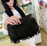 2014 New  women shoulder bag  tassel Mini purse wallet phone package black handbag vintage Fashion Messenger Bags gift for women