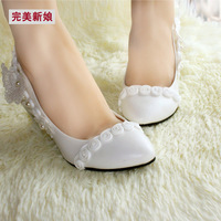 2014  thin heels white wedding shoes bridal shoes  rose lace shoes maternity single shoes pumps