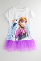 New Best Selling Baby Dress Children Frozen Anna&Olaf Dress Girl's Gauze T-shirt Dress