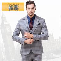 men business wedding suit jacket pant vest set Male plaid suit set slim british style men's formal dress men's clothing