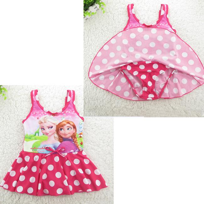 wholesales 10piece/lot frozen anna elsa cartoon princess one piece swimwear suit for children girls age 6 8 10 12 14(China (Mainland))