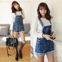 2014 free shipping suspenders denim shorts spaghetti strap denim shorts jumpsuit  jeans  410
