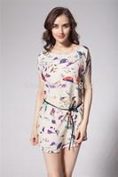 Fashion Women Plus size clothing floral print fashion loose one-piece dress belt vestidos blusas femininas inverno