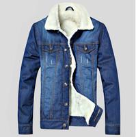 2014 New Winter Men'S Wild Cowboy Plus Thick Velvet Jacket,  Fashion Casual Cotton High Quality Vintage Denim Clothing Brand G0G