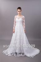 free shipping   lace wedding gowns plus size full sleeve designer bridal dress custom made