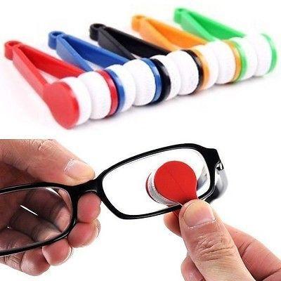 FD412 Mini Sun Glasses Eyeglass Microfiber Brush Cleaner Home Office Easy ~1PC~(China (Mainland))