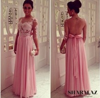 zni-02 newest custom made appliqued half sleeve bow see through close back beaded floor length chiffon celebrity dresses