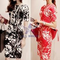 2014 Vintage Women Print Autumn Dress Boat Neck Bodycon China Imported Clothes Short-Sleeve Midi Dresses Vestido Black Red 04545
