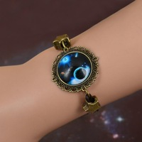 Retro time gem bracelet to the sky, the earth moon universe Bracelet