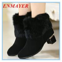 ENMAYER new 2014 Fashion Women's Snow Boots Platform Warm Grain Leather Shoes Black Square heel Velcro Ankle Boots for Women