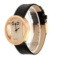 Rhinestone Black Leather Band Clear Dial Quartz Bracelet Watch Wristwatch Casual
