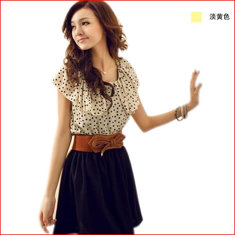 With Belt! Women Summer New Fashion Chiffon Dress Short-sleeve Dots Polka Waist Mini Dress Beige+Black Color(China (Mainland))
