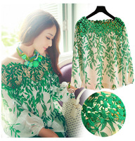 QT67 Free shipping new 2014 women fashion green Leaf  lace Hollow fashion length sleeve women shirt  M/2XL