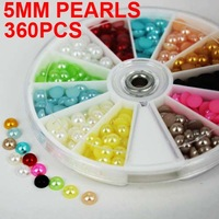 400pcs Nail Art Sticker resin half pearls decoration nail art stones Wheel filed with 5mm in 12 colors x30pcs free shipping