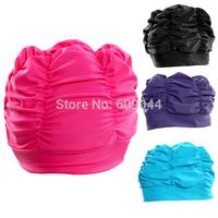 Wholesale/retail 4 Colors Fashion Ladies Womens Swimming Hat Swim Bathing Cap Turban Elasticated
