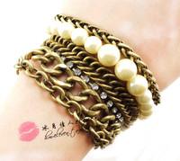 New 2014 Fashion Vintage Rhinestone Faux Pearl Thick Chain Bracelet SL109