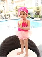 Children swimwear baby girl bikinis princess floral Kids Swimsuit One Piece Girls Swimming Wear  with hat underwear 3pcs/set