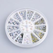 1,000 Pcs 3 sizes White Multicolor Rivets Nail Art Decoration Rhinestone(China (Mainland))
