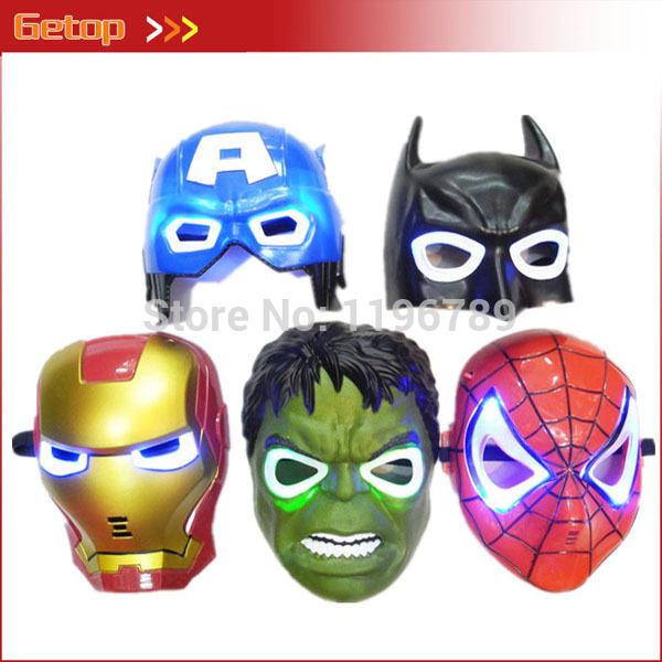 Hot Sale LED Glowing Party Mask The Hulk Captain America Batman Spiderman Ironman Mask Birthday Halloween Boy Gift 5pcs/lot(China (Mainland))