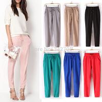 New 2014 Brand Casual Women Pants Solid Color Drawstring Elastic Waist Comfy Full Length Chiffon Harem Pants Colorful Trouser