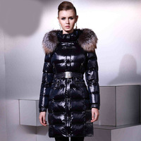 2014 Winter Thicken Warm Woman Down Jacket Hooded Outerwear Silver Fox Fur collar Coats Parka Luxury Slim Long Plus Size5XXXXXL
