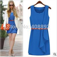 NEW! 2014 wholesale and retail women Summer dress, fashion slim fit all match Chiffon dress Free shipping (Mix order 10%)