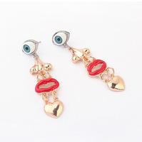YXSP1650      2014 new fashion     Retro personality lips flames    earring for women