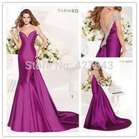 Tarik Ediz Satin Sheer Neck Off Shoulder Mermaid Evening Dress Court Train Low Back Evening Prom Gown