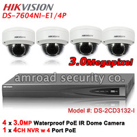 Kit of HIKVISION DS-7608NI-SE/P 8CH PoE NVR Network Video Recorder +1000GB HDD+4x 3.0MP HD PoE IR Dome IP Camera DS-2CD3132-I