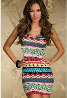 Sexy Club Dresses New 2014 Summer Clothes for Women Girl Prom & Party Bodycon Striped Tank Dress Vestido Estampado 7002