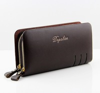 Promotional New 2014 Men's Leather Wallet Clutch Men's Double Zipper Large-capacity Phone Package Purse TB2013