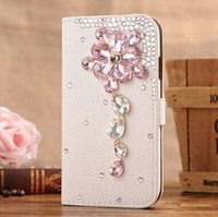 IMPRUE Handmake Leather Case with flower Diamond Bling Case Cover For Iphone 5 /5s With PP Packing Free Shpping