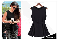 Work Clothes for Women New 2014 Summer European Women's Tunic Pleated Mini Dress with Belt Women Clothing Babados 6412