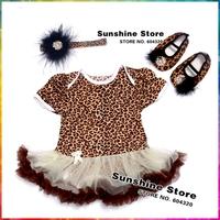 Leopard Ropa Bebe Feather Headbands Diamond Shoes Set,Roupas De Bebe Recem Nascido,Baby Girl Boots,#7A5348 3 set /lot
