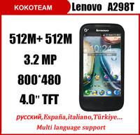 Original Lenovo A298T phone MTK6575 CPU 512MB RAM smartphone 4.0'' 3.2MP Support Russian Ukrainian PK lenovo A369 A390t phone