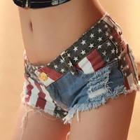 Summer Denim Low Waist Casual Hot Girl Zipper Shorts American Apparel 2014 New Sexy Star Stripe US Flag Print  Jeans Shorts 7203